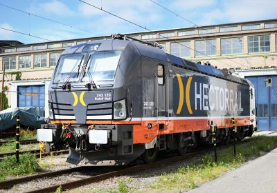 "The departed Dagens Nyheter-train and the ""Rudolf Wall"" locomotive"